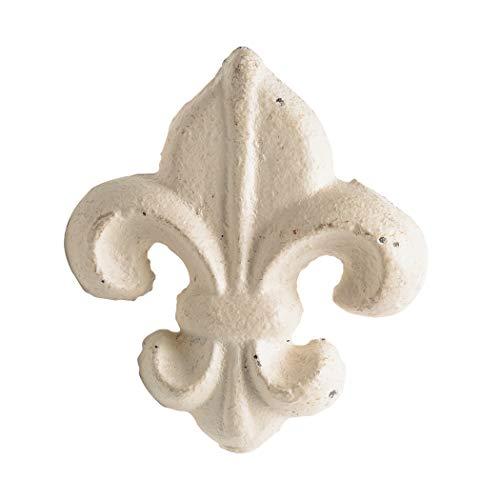 Cast Iron Drawer Handle Pull Fleur De Lis White Knob