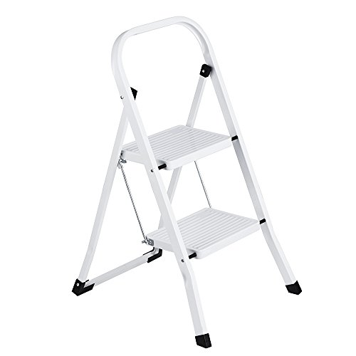 Two Step Folding Ladder (Delxo 2 Step Ladder Folding Step Stool Ladder with Handgrip Anti-slip Sturdy and Wide Pedal Multi-Use for Household and Office Portable Step Stool Steel 330lbs White (2 feet))