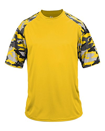 Blank Front/Back Gold Camo Youth Medium Sleeve Wicking Jersey Uniform Shirt