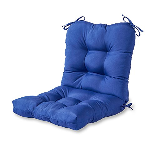Greendale Home Fashions Indoor/Outdoor Seat/Back Chair Cushion, Marine Blue (Seat For Furniture Outdoor Cushions)