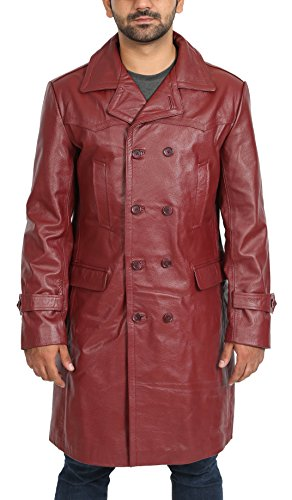 Mens 3/4 Length Leather Coat - 5