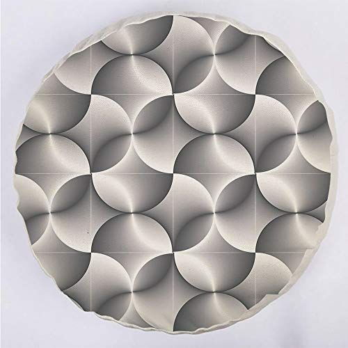 YOUWENll Round Decorative Throw Pillow Floor Meditation Cushion Seating/Half Toned Abstract Circles Wavy Lines Modern Technology Themed Tile Decorative/for Home Decoration 17