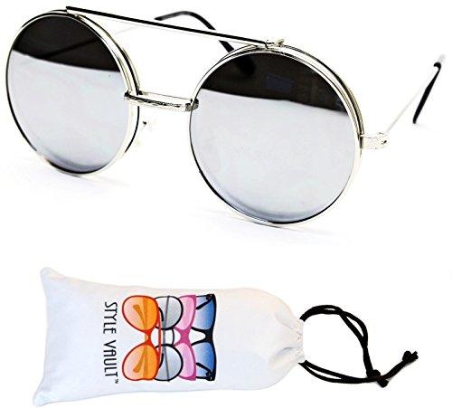 [V135-vp Style Vault Round Flip up Django Metal Sunglasses (B2360F Silver-Silver Mirror, uv400)] (80s Style Men)