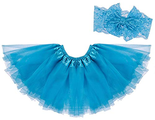 Dancina Tutu Headband Set Baby Vintage Classic Tulle Skirt w/Soft Lace Bandeu 6-24 Months Turquoise