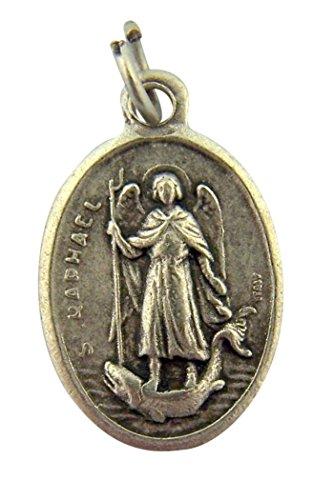 Silver Tone Saint Raphael the Archangel Protection Medal Pendant, 1 Inch (Pendant Medal Raphael)