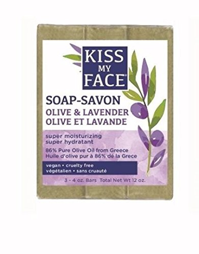 Kiss My Face Olive Oil and Lavender Bar Soap, 4 Ounce, (Pack of 3)