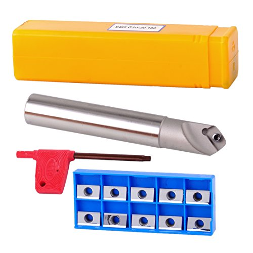 45 Chamfering Kit - 45 Degree Centering Chamfering End Cutter Holder with Carbide Milling Insert Blade Kit