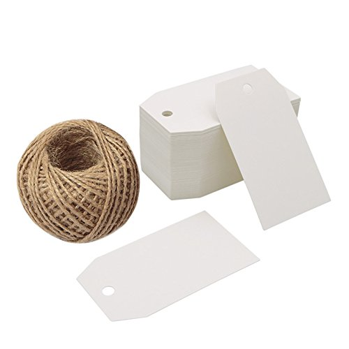 Gift Tags,100 Pcs White Paper Blank Gift Tags for Wedding Favors,Craft Tags with 100 Feet Natural Jute Twine
