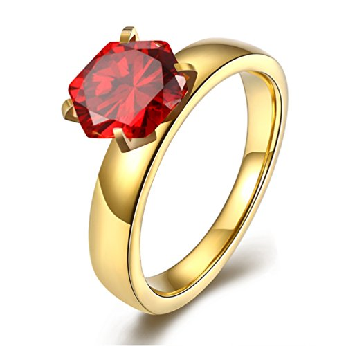Womens Stainless Steel Created 3ct Red Ruby Birthstone Promise Ring for Her 18K Gold Plated Cubic Zirconia Solitaire Ring Engagement Wedding Band 8