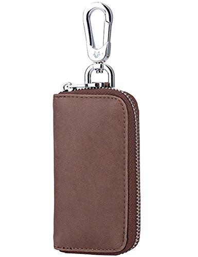 iSuperb Schlüsselmäppchen i Schlüsseltasche Leder Schlüsseletu Geldbörse Autoschlüssel Tasche (Braun) Braun