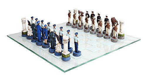(US Air Force vs Marines Military Chess Set Hand Painted with Glass)