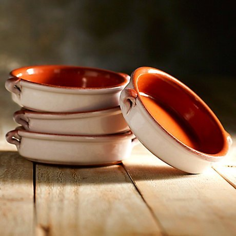 Cloud White Terra Cotta Cazuelas - 4.5 Inches (4 Dishes) (Tapas Dish Set)