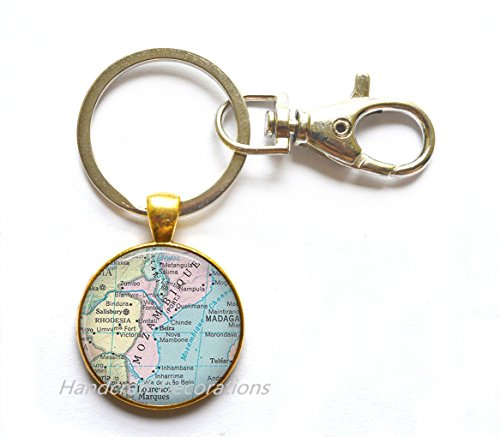 Charming Keychain,Panama City,Mozambique map Keychain, Mozambique map Key Ring, Mozambique Key Ring, Mozambique Keychain map jewelry,A0281