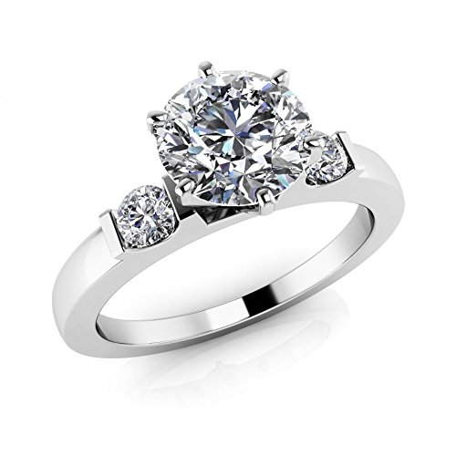 1.15 ct Ladies Round Cut Diamond Solitaire Engagement Ring( Color G Clarity SI1) 18 kt White Gold In Size ()