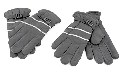 Dotted Mens Glove - Men's Fleece Lined Gloves Dotted Palm Cold Weather Gear Black