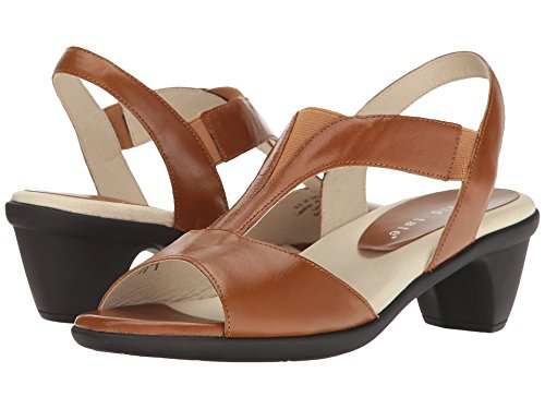 David Tate Women's Accord T-Strap Sandal,Luggage Glazed Calfskin,US 8 M