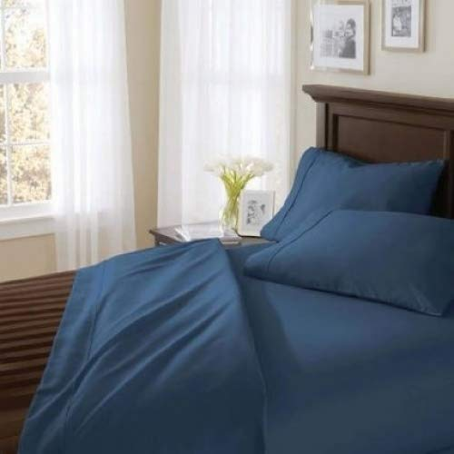 Better Homes and Gardens 400 Thread Count Solid Egyptian Cotton True Grip Bedding Sheet Set, Full,Indigo from Better Homes and Gardens