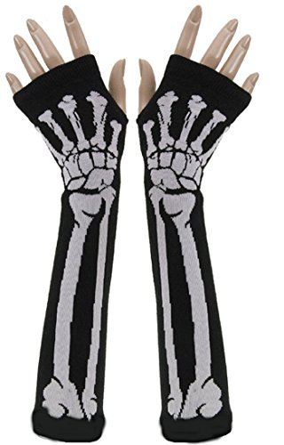 SEADEAR Winter Warm Halloween Skull Bone Skeleton Long Fingerless Gloves Arm Warmer Sleeve for Women Girls with Stylus - Skeleton Bone Gloves