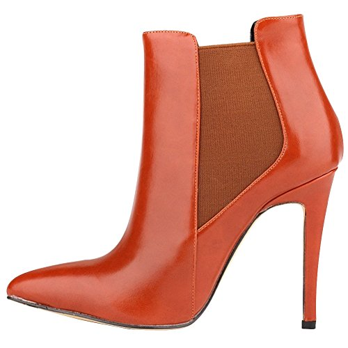 Slip Boot HooH toe Stiletto Pointed Women's Elastic Red Pumps Ankle xxwqvFIA