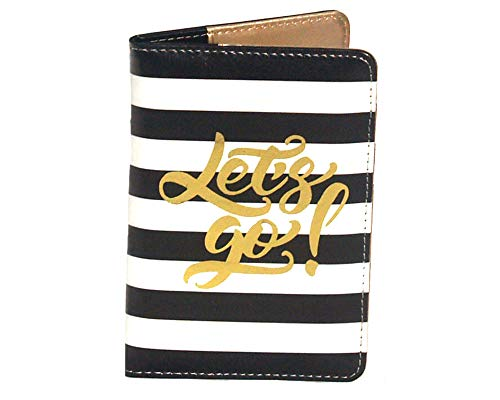 Lets Go! Passport Cover Holder for Women, Black and White Stripe with Gold Foil Print, Travel Accessory