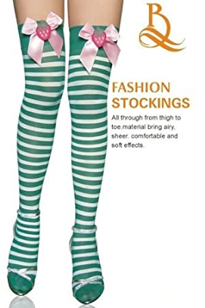 659594bc774 Sexy Green   White stripe stockings Hold ups red satin bow fancy dress hen  night costume size 8 10 12  Amazon.co.uk  Sports   Outdoors