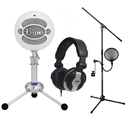 Blue Snowball White USB Mic Stands Filter CAD MH110 Headphones