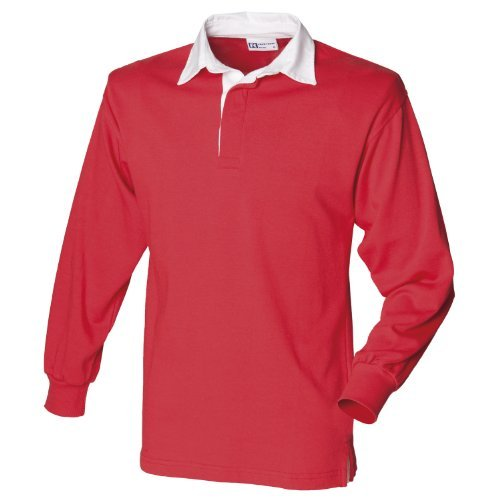 Front Row Long sleeve plain rugby shirt Red/White S