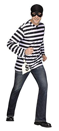 Fun World Mens Burglar Robber Thief Costume- Shirt & Mask Size XL 40-42