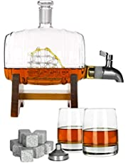 Atterstone Barrel Whiskey Decanter Set/Full Set with Two Whiskey Glasses, Custom Decanter Stand, Whiskey Stone Set, Stainless Steel Dispenser and Funnel