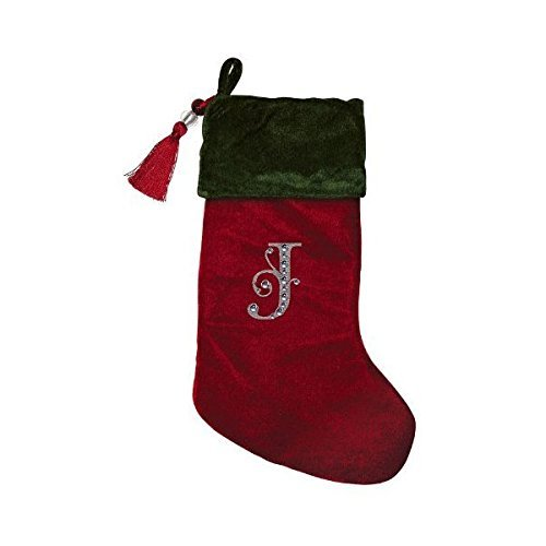 - Christmas Stocking Red & Green Velvet with Tassel, Rhinestone Monogram (J)