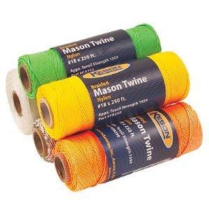 Keson YB250 12-pack #18 Yellow Braided Nylon Mason Line, 250-ft, 155-lb Tensile Strength