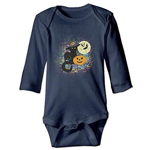 (Moulton Mansfield Pumpkin Halloween Cat Unisex Baby Infant Long Sleeve Onesies Bodysuits)