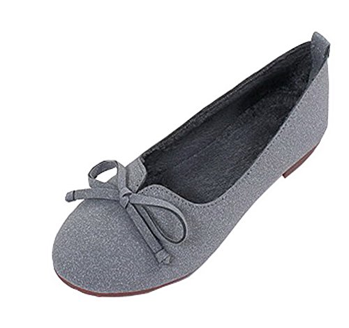 AalarDom Women's Solid No-Heel Pull-On Round-Toe Flats-Shoes with Bowknot, Gray, 34