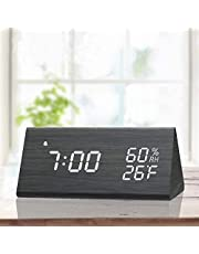 Digital Alarm Clock, with Wooden Electronic LED Time Display, 3 Alarm Settings, Humidity & Temperature Detect, Wood Made Electric Clocks for Bedroom, Bedside