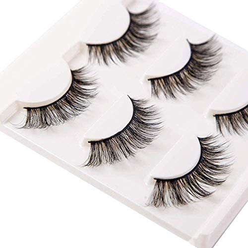 3D False Eyelashes Extensions 3 Pairs Long Mink Lashes Strip with Volume for Women's Makeup Handmade Soft