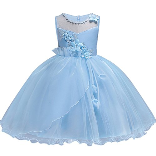 KISSOURBABY Tutu Dresses for Girls Beauty Pageant Dress 6 Years Old Size 4T 5T Princess Girl Pageant Party Tulle lace Ruffle Dress Sleeveless Knee(Sky Blue 6-7 Years 130) ()