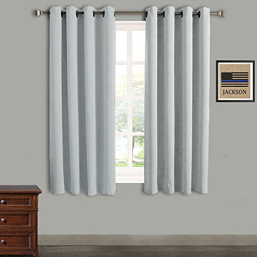 RHF Blackout Thermal Insulated Curtain-white blackout curtains-Grommet curtains,blackout curtains for bedroom/living room blackout curtains set of 2(52 by 63 Inches Greyish White-2 Panels) (White Set Room Living)