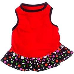 Voberry Small Dog Dress Fashion Pet Dog T-Shirt Dress Dog Cat Cute Summer Vest Skirt (M, Red)