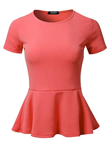 SSOULM Women's Classic Stretchy Short Sleeve Flare Peplum Blouse Top Coral M