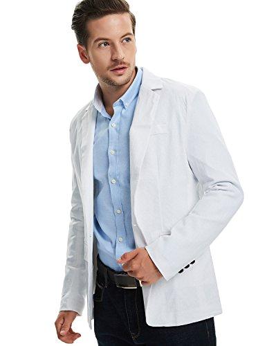 Pishon Men's Linen Blazer Lightweight Casual Solid One Button Slim Fit Sport Coat, White, Tag Size XXXL=US Size L by Pishon (Image #6)
