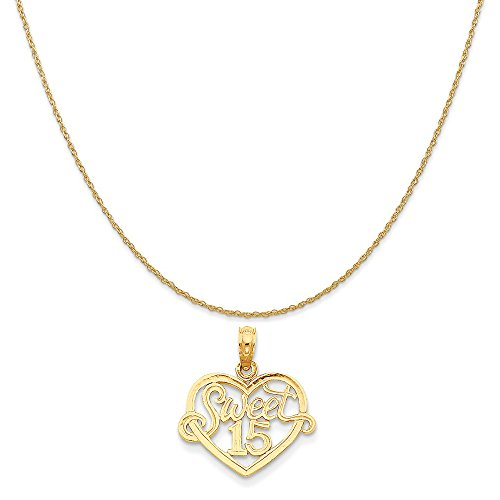 14k Yellow Gold Sweet 15 in Heart Pendant on a 14K Yellow Gold Rope Chain Necklace, 18