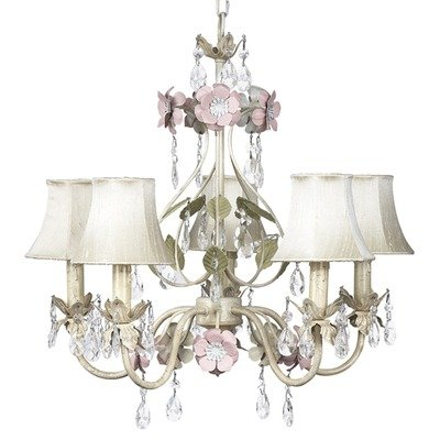 426-2412-317 5 Arm Flower Garden Pink/White Chandelier with Plain Pink Shade and Sash ()