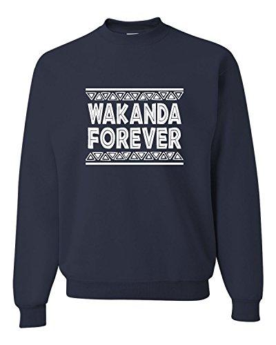 Medium Navy Adult Wakanda Forever Sweatshirt Crewneck ()