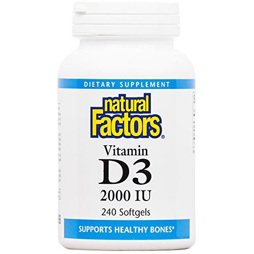 Natural Factors - Vitamin D3 2000 IU, Supports Healthy Bones, 240 Soft Gels