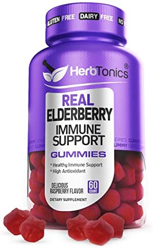 Elderberry Gummies for Kids Adults 200mg with Vitamin C Echinacea Immune Support Vegan, Non-GMO, Gluten Free Gelatin Free 60 Gummies