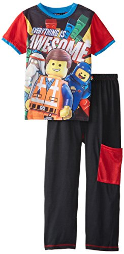 Lego Little Boys' Movie Awesome Pajama Set, Black/Red, 6/7 (Lego Train Set 10233)