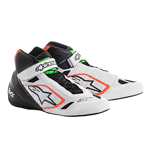 Alpinestars 2713018-2146-12 Tech 1-KZ Shoes, White/Black/Orange Fluorescent, Size 12