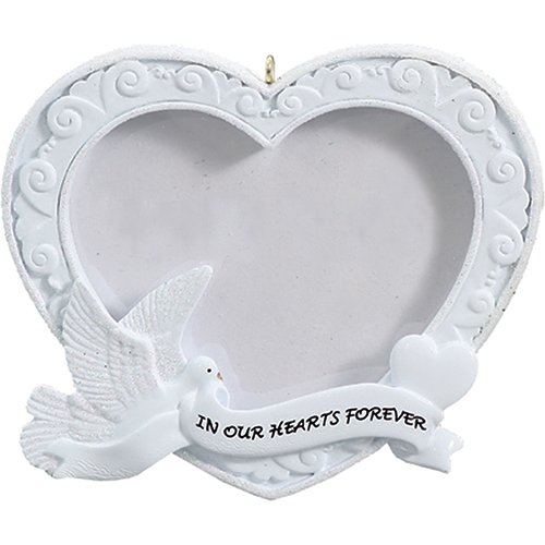 Personalized Our Heart Forever Photo Frame Christmas Tree Ornament 2019 - White Peaceful Dove Hold Ribbon Picture Display Angel Religious Pray God Wings Heaven Memorial Year - Free Customization