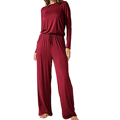 Dreamskull Womens Casual Jumpsuits Scoop Wide Legs Long Sleeve Romers Jumpsuit with Pockets ()