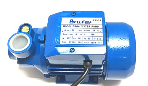 BRUFER Electric Centrifugal Clear Water Pump, 0.5 HP | Pools, Ponds, Irrigation, Garden, Sprinkling